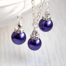 jewelry party favors purple necklace set of necklace earring bridesmaid gift