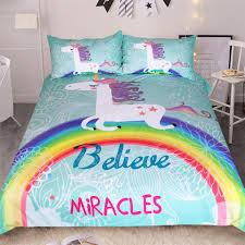 unicorn rainbow believe in miracles duvet cover bedding set u2013 fab