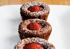 chocolate lava cakes with raspberry sauce just a taste