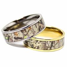 wedding rings sets his and hers for cheap his hers camouflage real forest oak camo titanium wedding rings