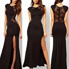 trendy elegant womens slim long maxi lace gown evening