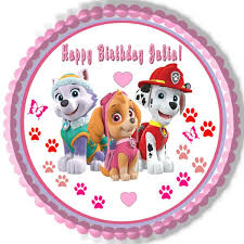 Paw Patrol Girls Edible Birthday Cake OR Cupcake Topper – Edible