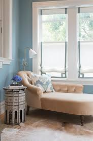 Chaise Lounges For Living Room Pale Gray Chaise Lounge With Blue Pillow Cottage Living Room