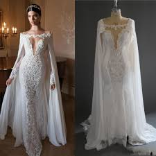 retro arabic mermaid lace bridal dresses with cloak vintage