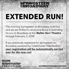 bruce springsteen verified fan ticketmaster on twitter springsteenbroadway extended run