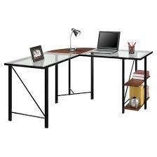Glass Top L Shaped Computer Desk Cruz Glass Top L Shaped Corner Desk Cherry Black Altra Target