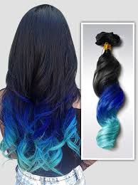 blue hair extensions mermaid ombre colorful indian remy clip in hair extensions cs017