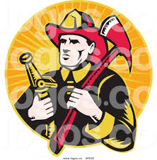 royalty free vector of a fireman with an axe and hose logo by