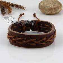 leather wrist bracelet images Genuine leather wristbands adjustable drawstring bracelets unisex jpg