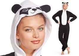 hooded panda bear fleece pajamas woman union suit costume