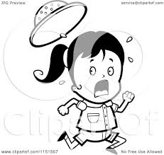 cartoon clipart of a black and white scared safari running