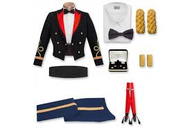 army male officer blue mess uniform center and accessories