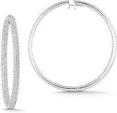 white gold hoop earrings 18k white gold 6 11ct pave diamond hoop earrings 150 02454