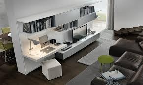 meuble tv avec bureau aménagement de bureau moderne dans un salon design salons