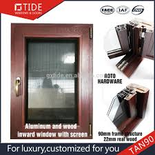 wooden design casement windows with tempered glass screen