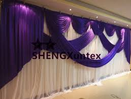 wedding backdrop size 3m 6m size white and purple color wedding backdrop curtain stage
