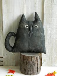 primitive black halloween cat halloween decor fall decor black