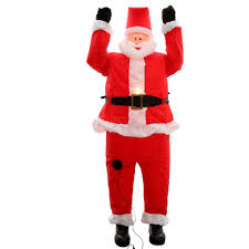 home accents holiday 6 5 ft inflatable santa hanging from roof