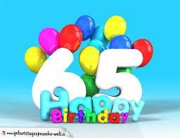 geburtstagssprüche 65 65 geburtstag bild happy birthday mit ballons