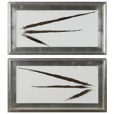 pheasant home decor faisan modern classic dipped feather shadow box wall decor pair