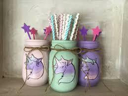 painted mason jars unicorns party decor unicorn party