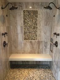 barrier free shower wall tile 24 x 24 porcelain tile pebble mosaic