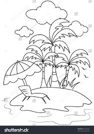 line art illustration small isle beach stock vector 67434232