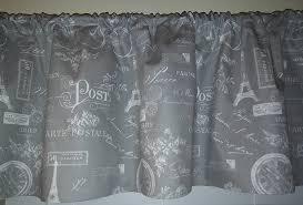 amazon com grey and white paris french script valance curtain
