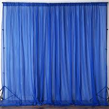 10ft fire retardant royal blue sheer curtain panel backdrops