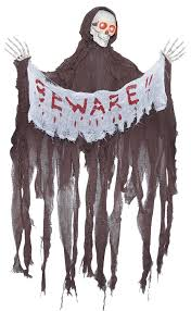 animated black reaper skeleton with banner hanging halloween