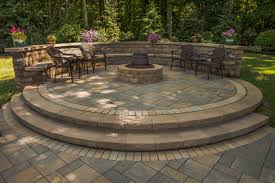 Paver Patios With Fire Pit by Raised Paver Patio Gas Fire Pit Sitting Wall With Backrest