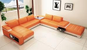 canapé d angle orange canapé d angle en cuir italien design et pas cher modèle vénus