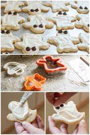 halloween ghost sugar cookies with cream cheese frosting pinch