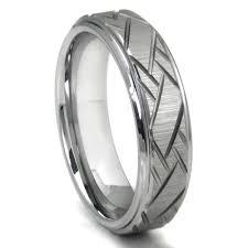 carbon wedding band tungsten carbide diagonal groove wedding band ring