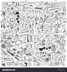 hand drawn food elements set menu stock vector 609263087