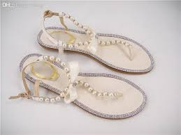 Wedding Shoes Ivory Wholesale Free Shopping Rhinestones Bridal Sandals Flat Wedding
