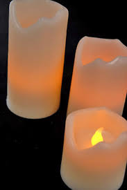operated candles set of 3 4 5 2in melted edge candles led white