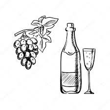 wine bottle glass and grapes sketch u2014 stock vector seamartini