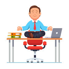 Yoga At The Office Desk Business Man Sitting On Office Desk In Yoga Pose Stock Vector