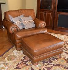Thomasville Wingback Chairs Leather Chair And Ottoman By Thomasville Ebth