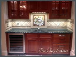 hand crafted painted chardonnay tile backsplash by the clay custom hand crafted painted chardonnay tile backsplash by the clay custom made kitchen ideas images
