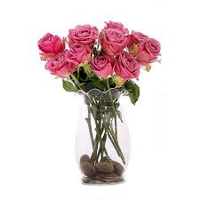 Vase With Roses Table Flowers Delivery Swaziland Fa10951 12 Pink Roses In A Vase