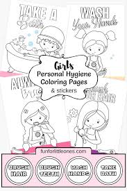 girls personal hygiene coloring pages u0026 stickers free printable