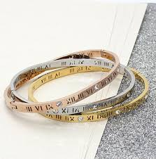 rose gold crystal bangle bracelet images 2018 2015 hot designs roman numerals hollow one crystal cuff jpg