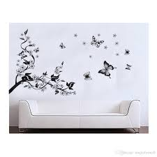 black tree wall decal flowers butterflies sticker black tree wall decal flowers butterflies sticker blossom and flying white flower decals