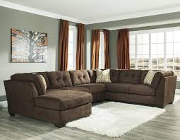 Chocolate Brown Sectional Sofa With Chaise Benchcraft Delta City Chocolate 3 Modular Sectional