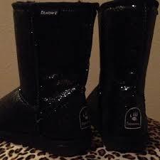 bearpaw womens boots size 9 55 bearpaw boots bearpaw black glitter black sheepskin wool