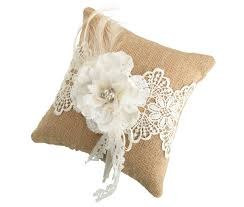 ring pillow rustic burlap lace ring bearer pillow