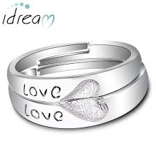 rings engraved images Love engraved two half hearts puzzled promise rings for couples jpg