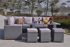 Yakoe Garden Furniture Conservatory 9 Seat Rattan Corner Sofa Dining Table Garden